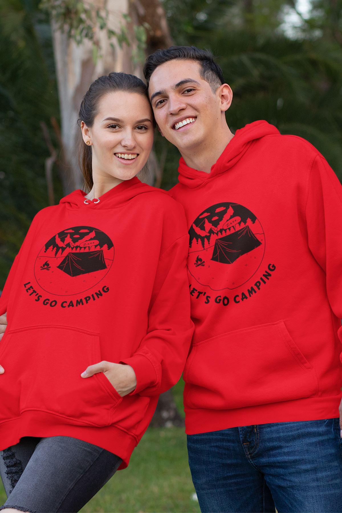 Sevgili Kombini Camping 03 Kırmızı Kapşonlu Sweatshirt - Tek Ürün Fiyatıdır.