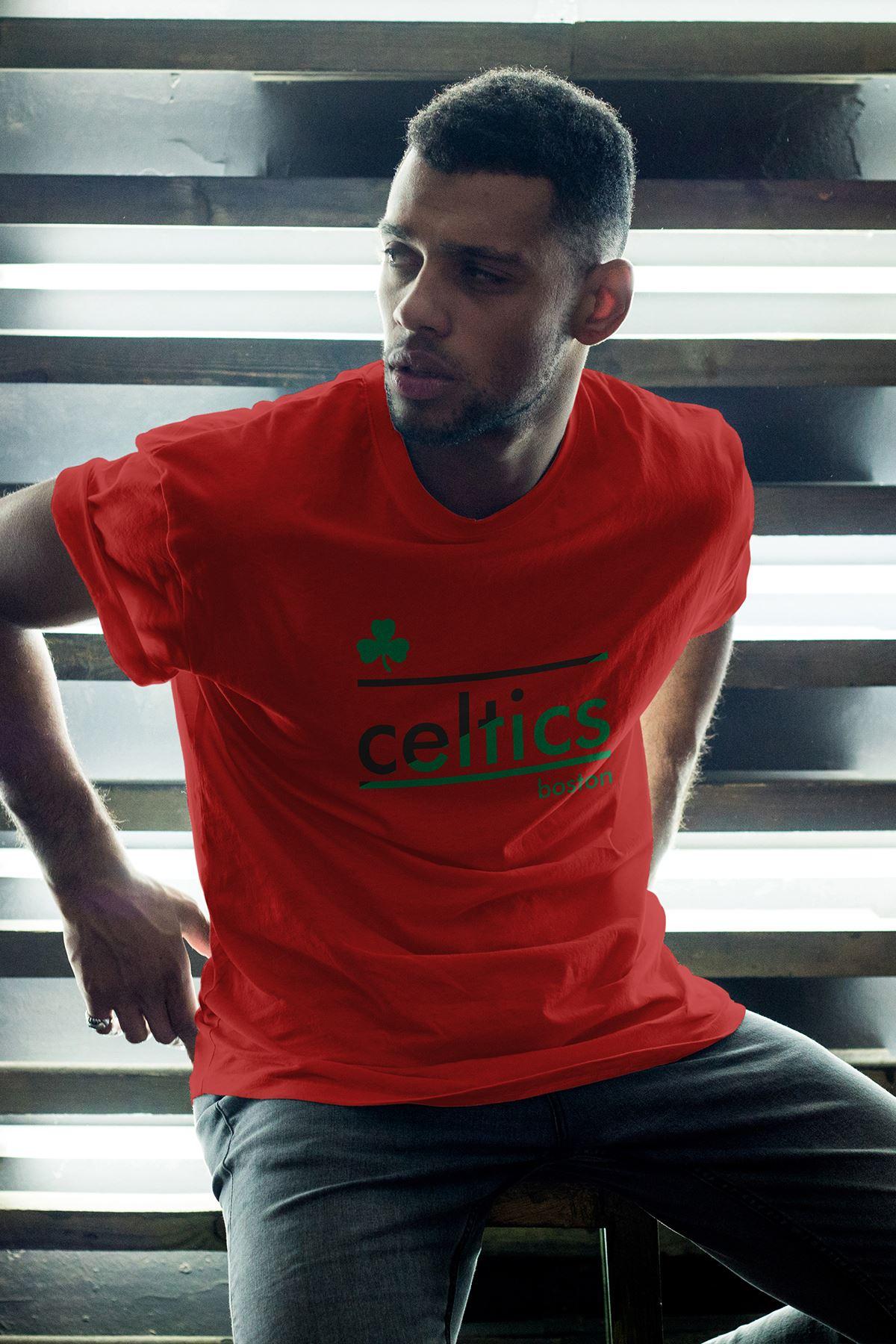 Boston Celtics 25 Kırmızı Erkek Oversize Tshirt - Tişört