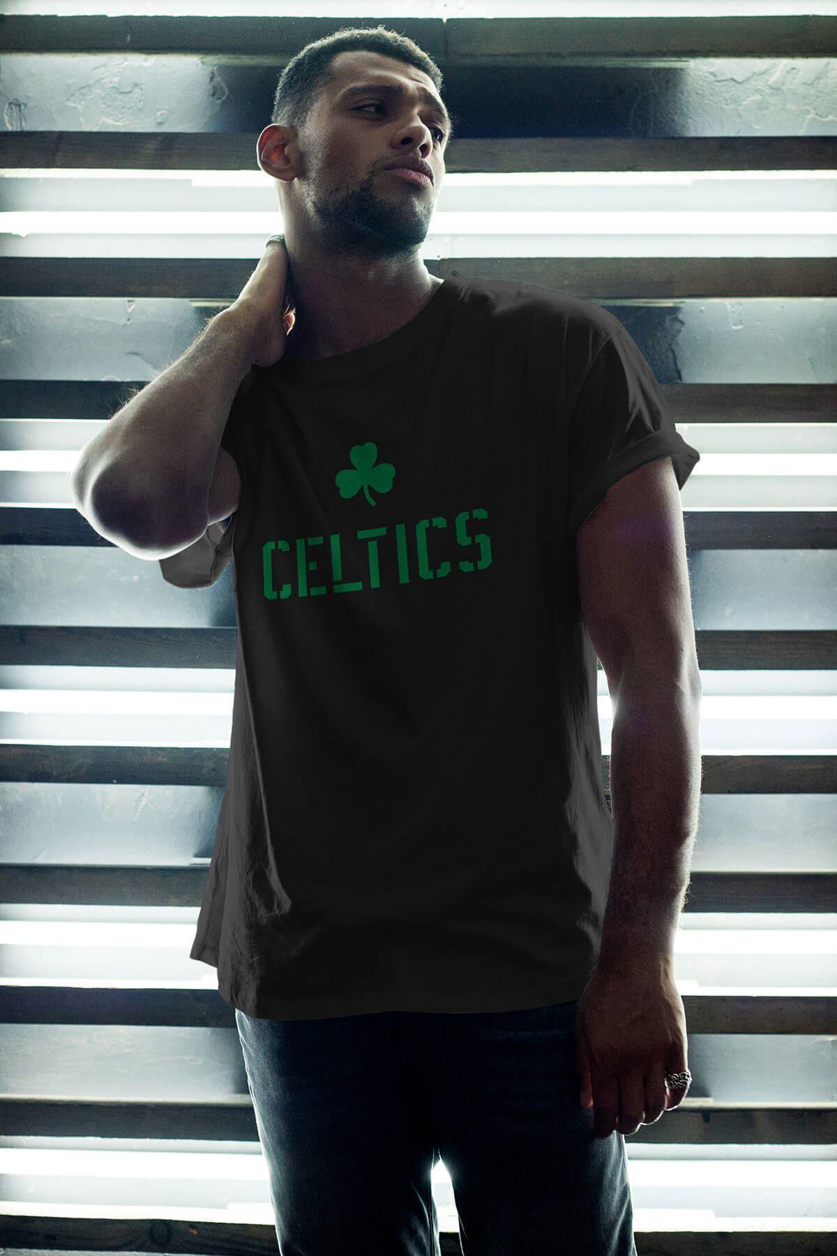 Boston Celtics 27 Siyah Erkek Oversize Tshirt - Tişört