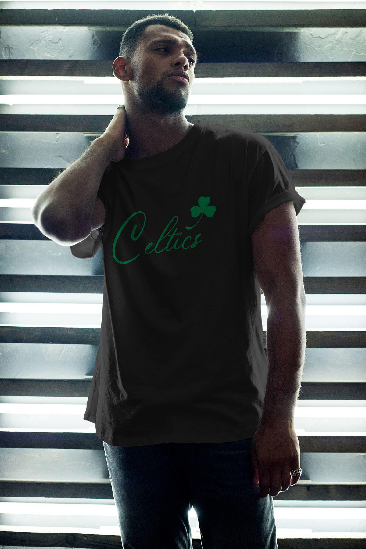 Boston Celtics 28 Siyah Erkek Oversize Tshirt - Tişört