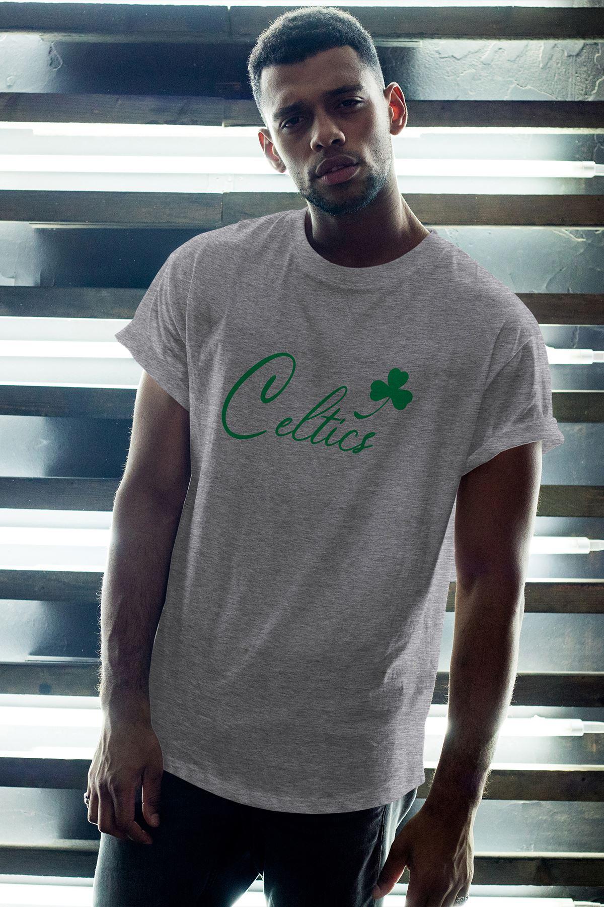Boston Celtics 28 Gri Erkek Oversize Tshirt - Tişört