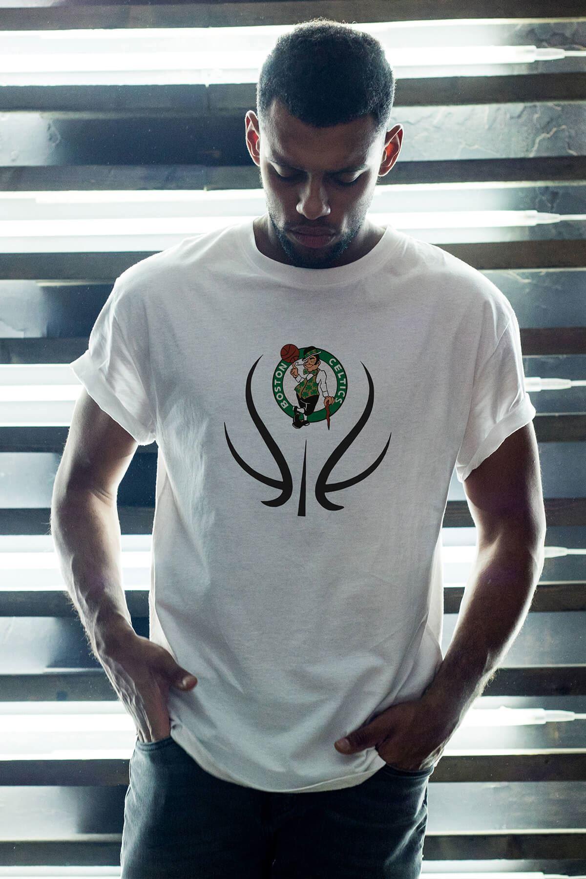 Boston Celtics 29 Beyaz Erkek Oversize Tshirt - Tişört