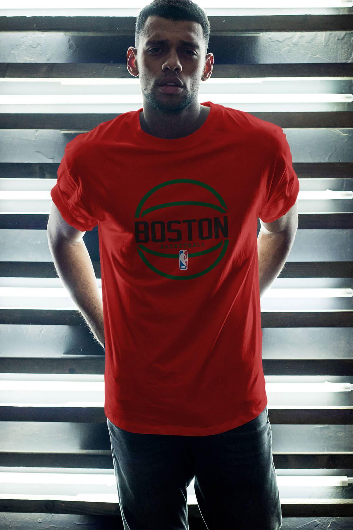 Boston Celtics 30 Kırmızı Erkek Oversize Tshirt - Tişört