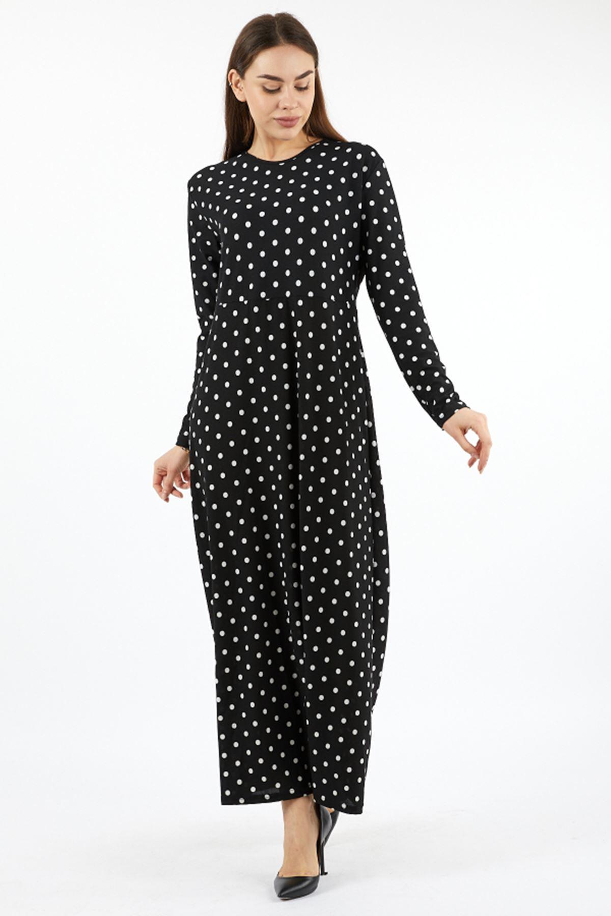 Kadın Puantiyeli  Siyah Uzun Elbise