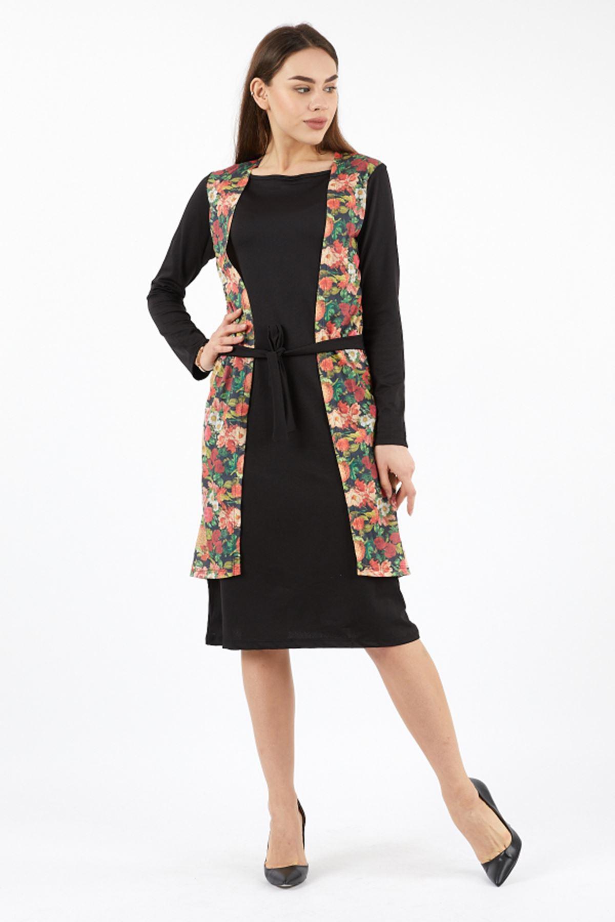 Kadın Yan kapamalı Çiçekli Elbise
