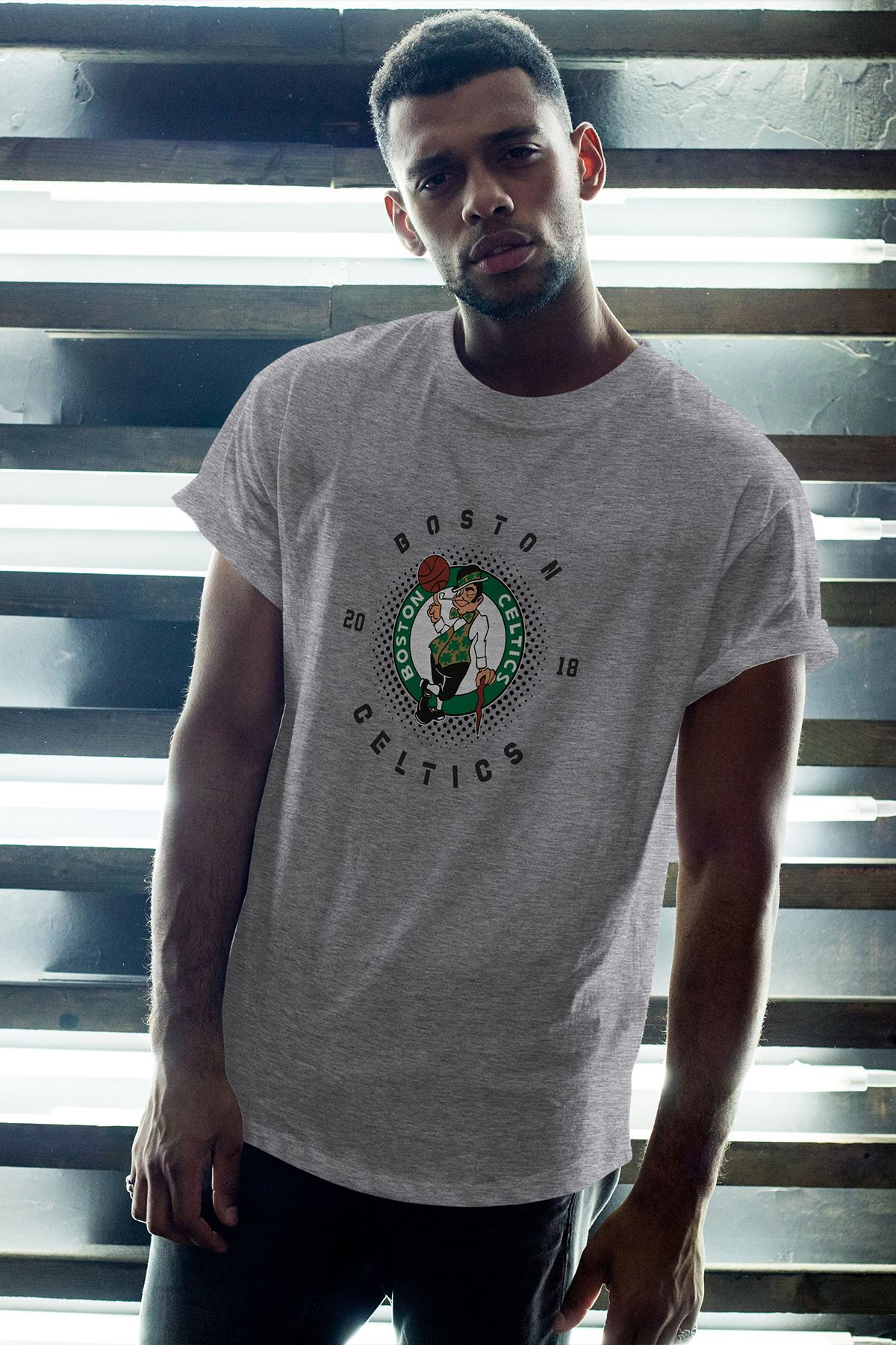 Boston Celtics 33 Gri Erkek Oversize Tshirt - Tişört