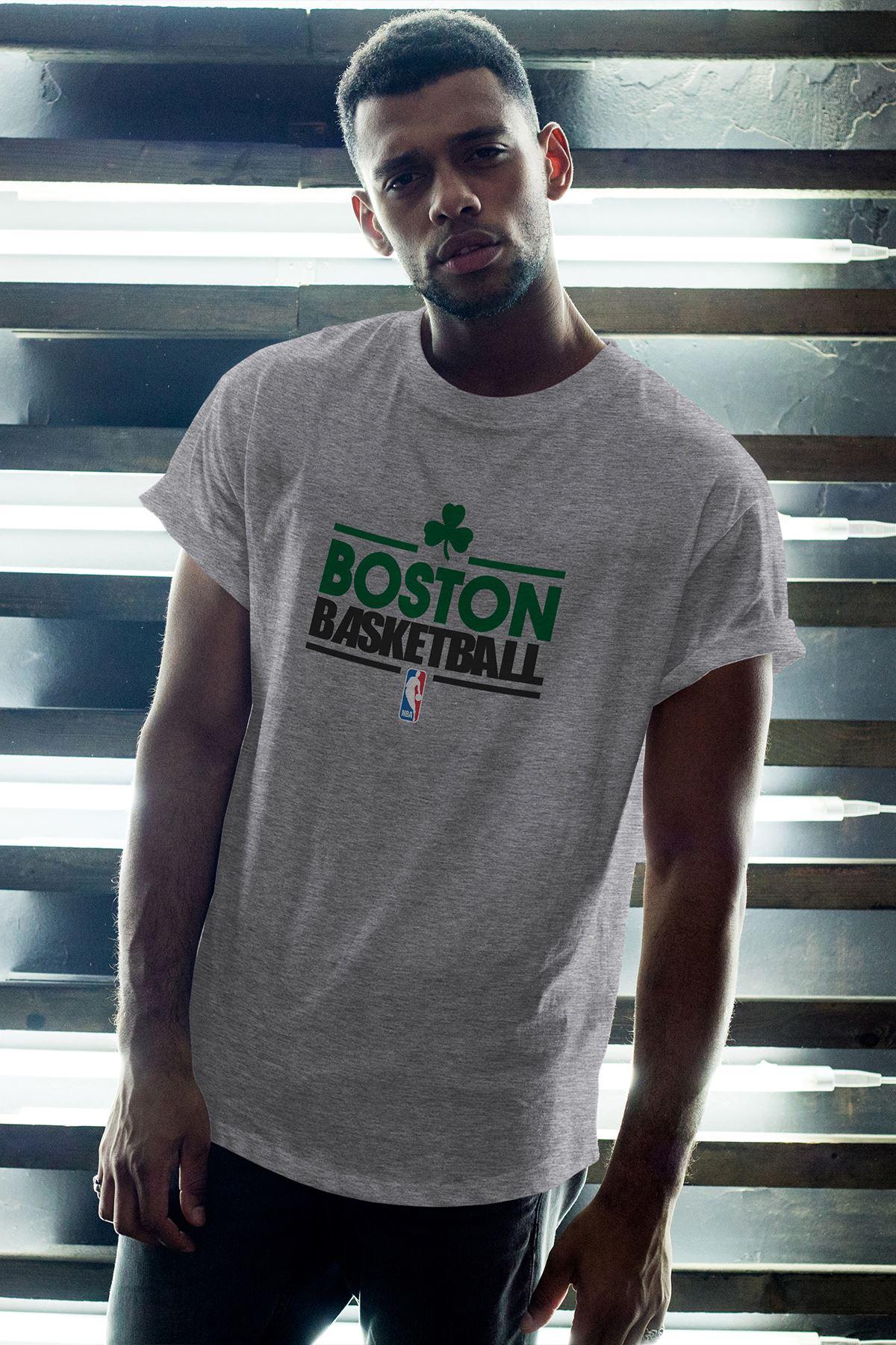 Boston Celtics 34 Gri Erkek Oversize Tshirt - Tişört