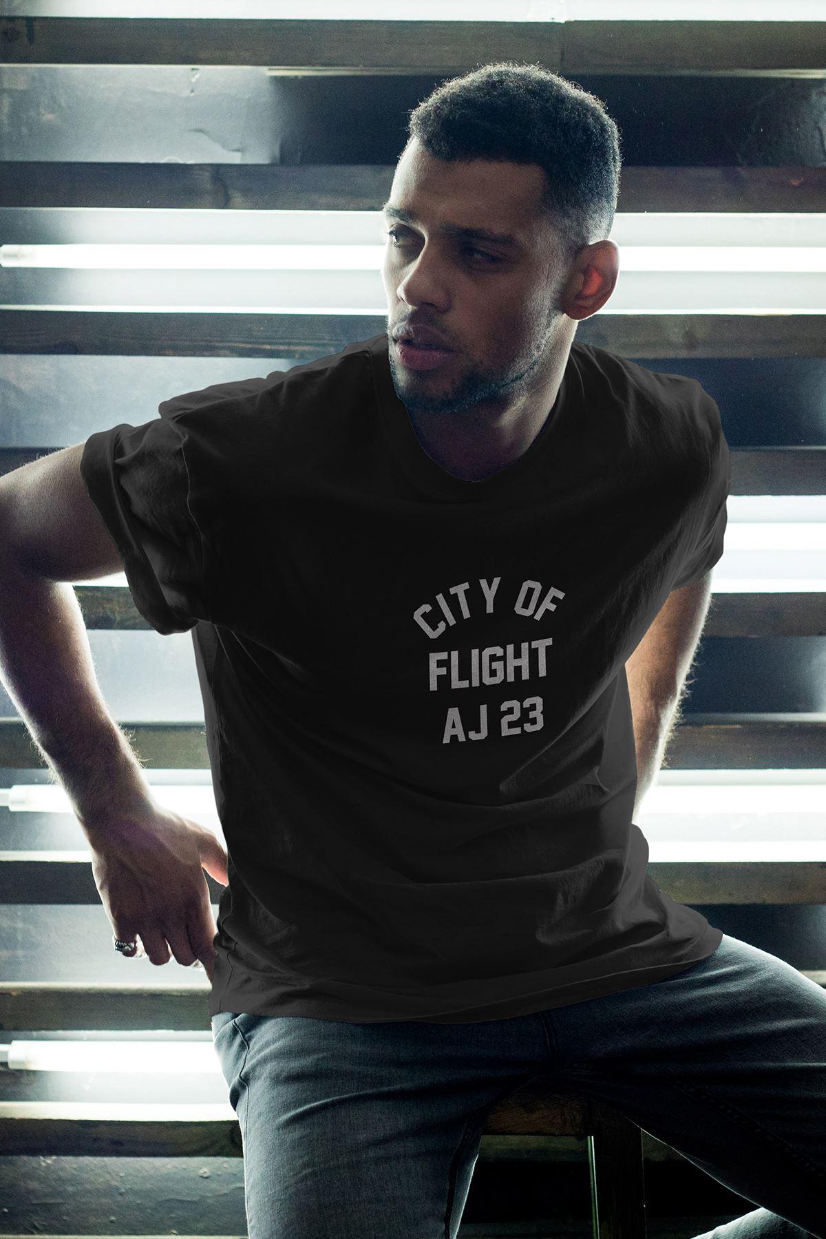 City Of Flight Siyah Erkek Oversize Tshirt - Tişört