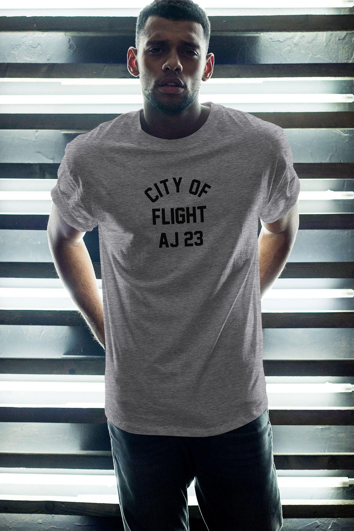 City Of Flight Gri Erkek Oversize Tshirt - Tişört
