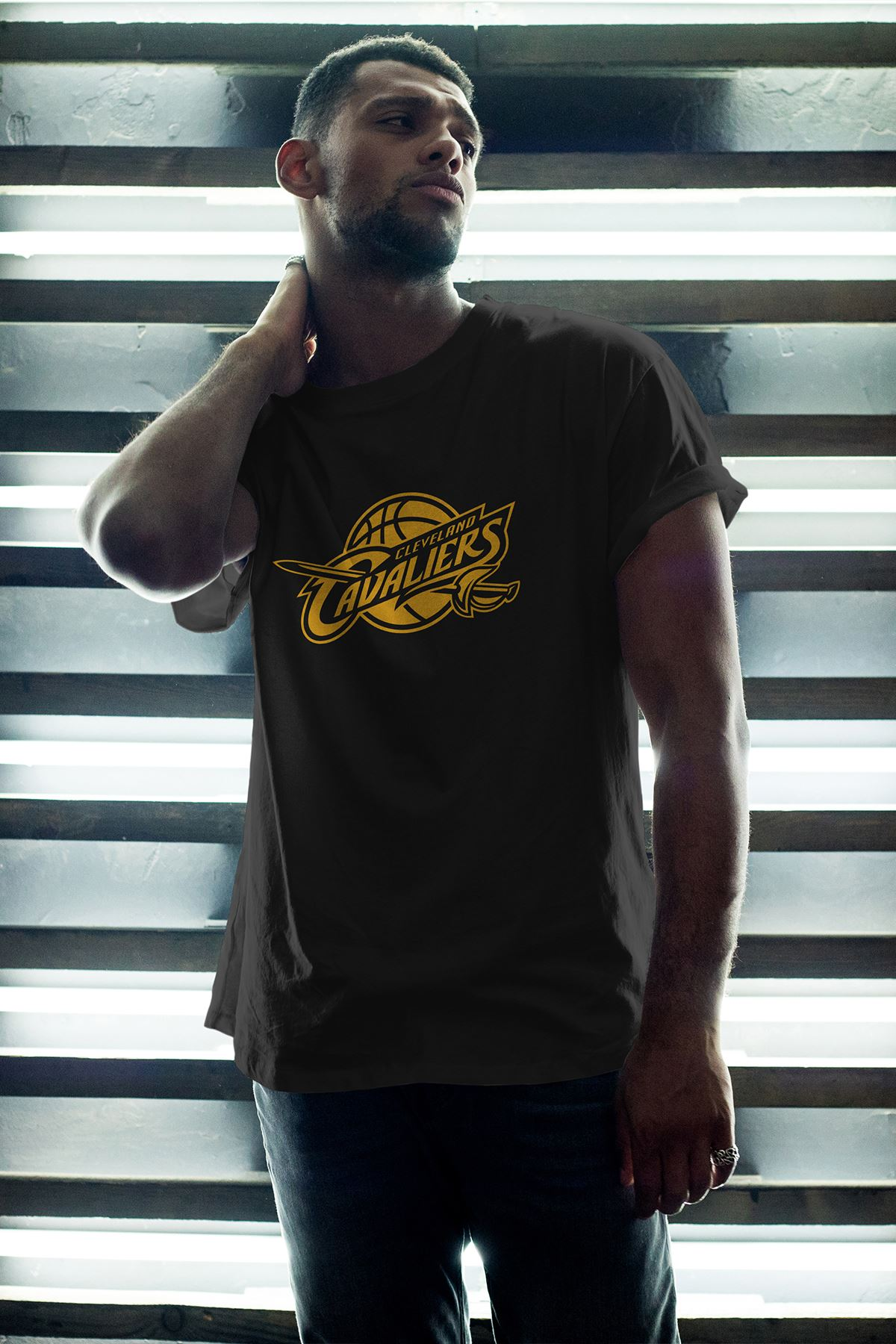 Cleveland 02 Siyah Erkek Oversize Tshirt - Tişört