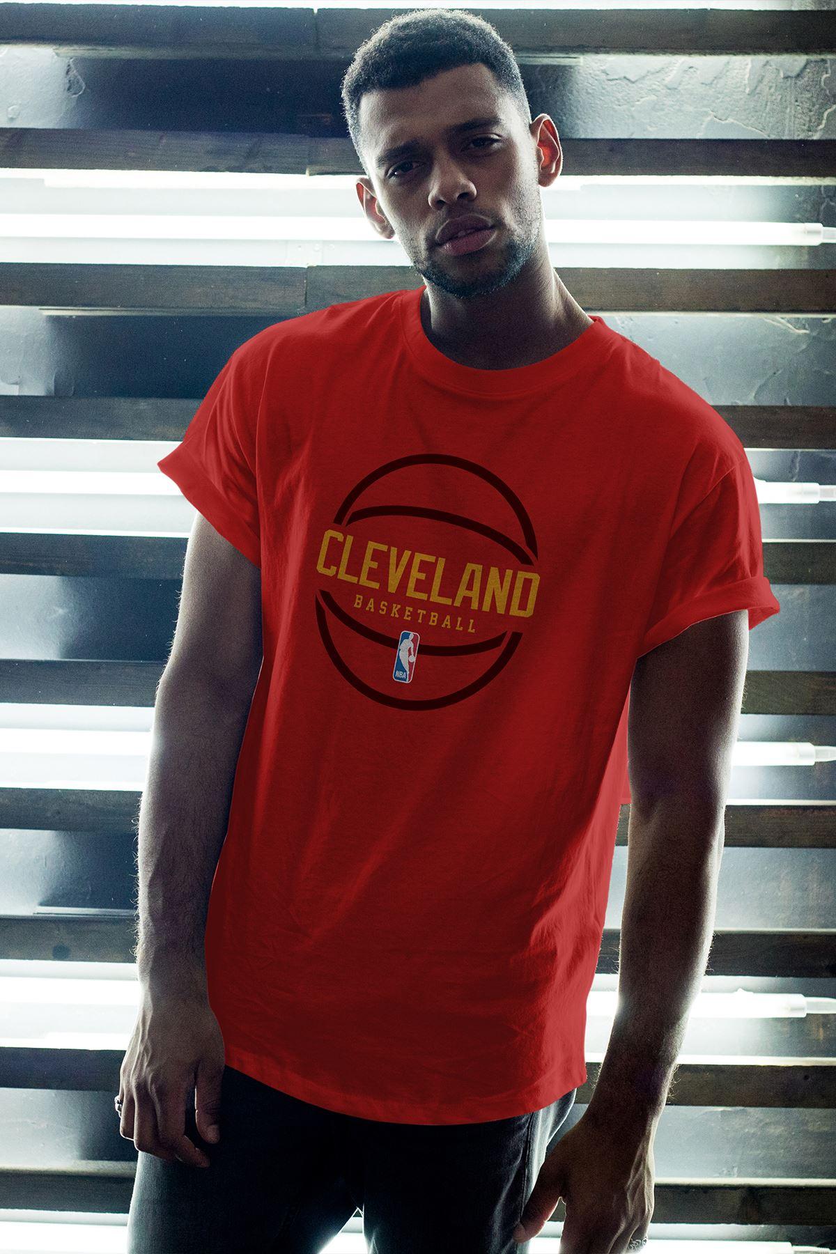 Cleveland 03 Kırmızı Erkek Oversize Tshirt - Tişört