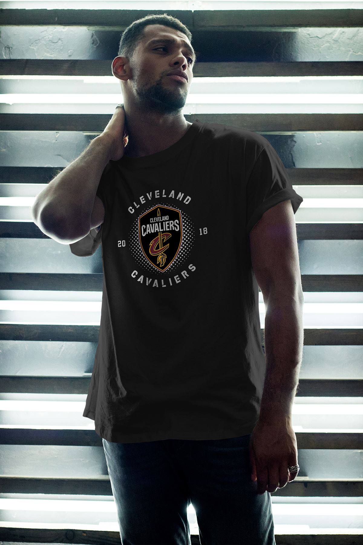 Cleveland 04 Siyah Erkek Oversize Tshirt - Tişört