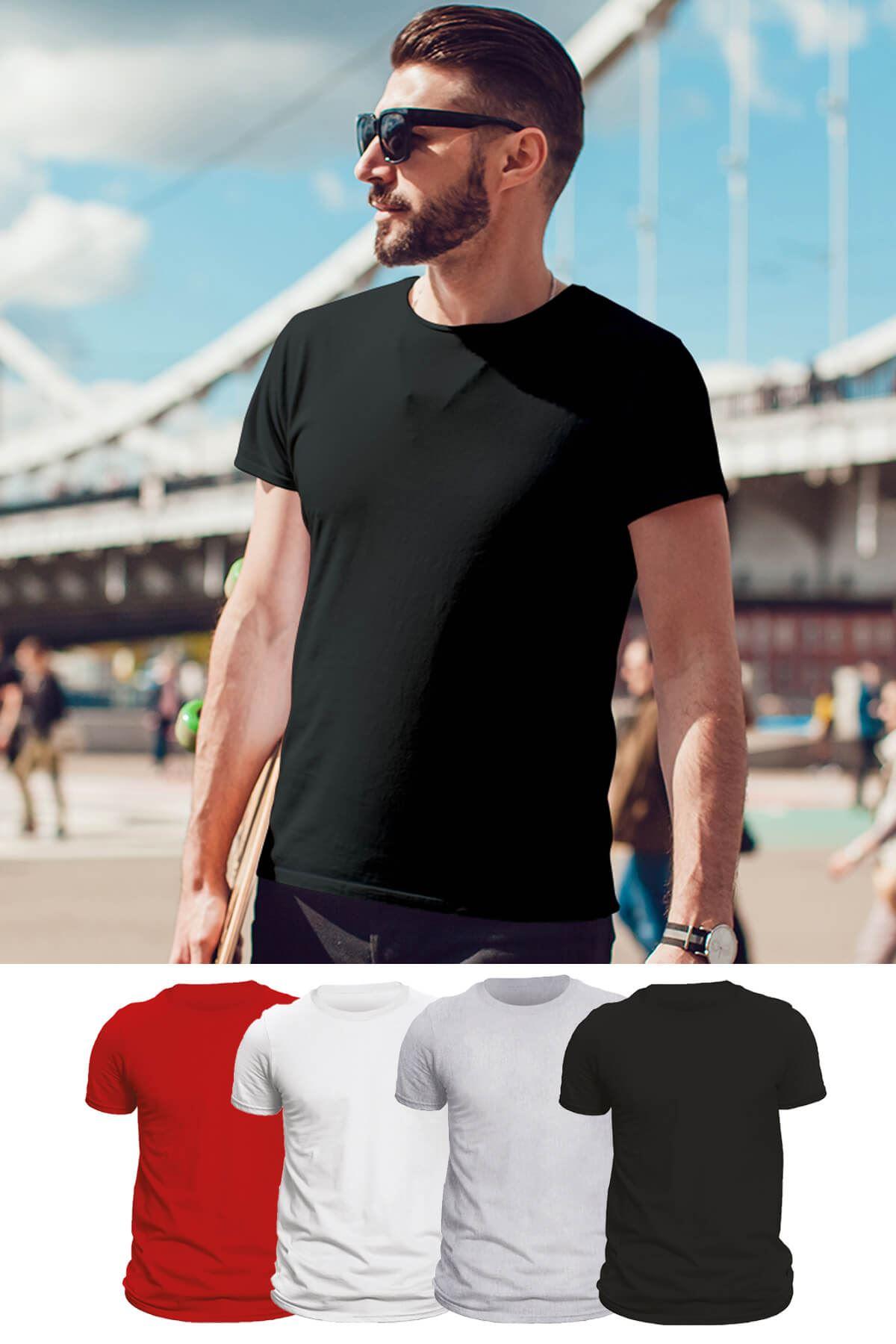 Tonny Mood Siyah - Beyaz- Gri Melanj- Kırmızı  4'lü Set Basic Erkek Tshirt - Tişört