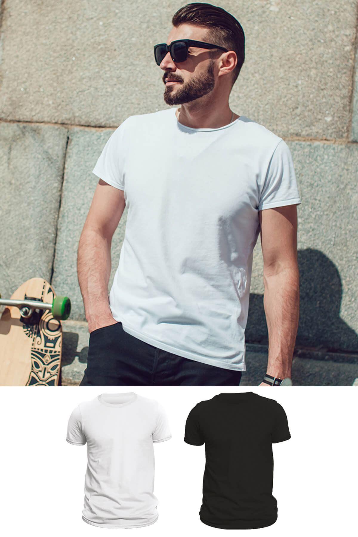 Tonny Mood Beyaz - Siyah 2'li Set Basic Erkek Tshirt - Tişört