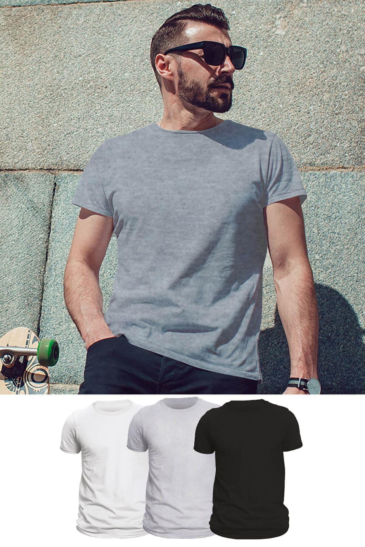 Tonny Mood Gri Melanj - Siyah - Beyaz-  3'lü Set Basic Erkek Tshirt - Tişört