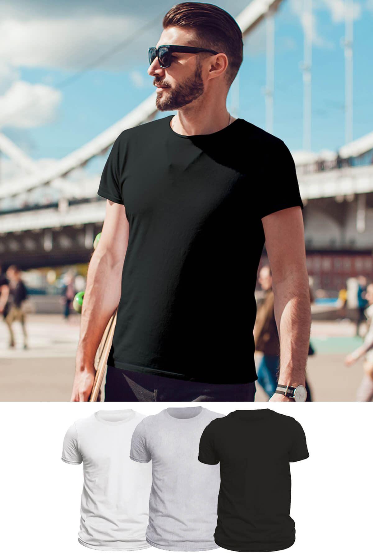 Tonny Mood Siyah - Beyaz- Gri melanj 3'lü Set Basic Erkek Tshirt - Tişört