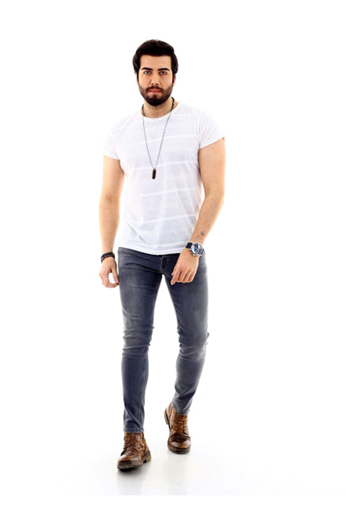 Erkek Gri Likralı Denim Jeans Kot Ceket + Açık Gri Slim Likralı Denim Jean Kot Pantolon