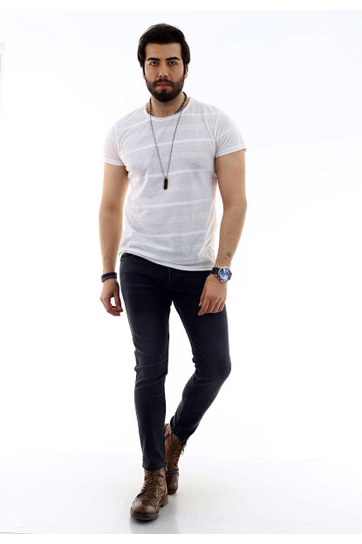 Erkek Füme Denim Jeans Kot Ceket + Füme Slim Denim Jean Pantolon