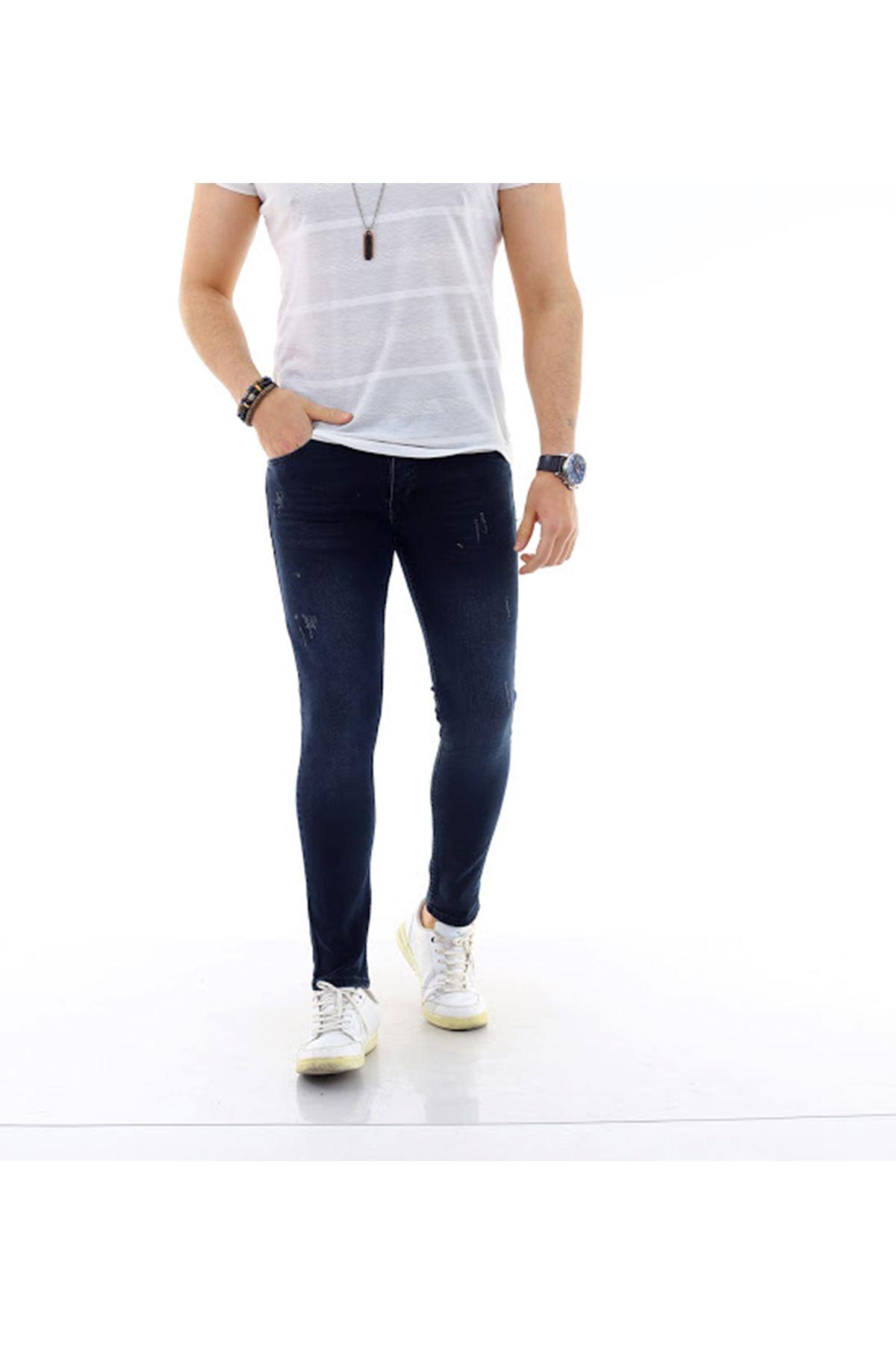 Erkek Y. Tint Slim Denim Jeans Kot Ceket + Y. Tint Lazer Tırnaklı Denim Jean Pantolon