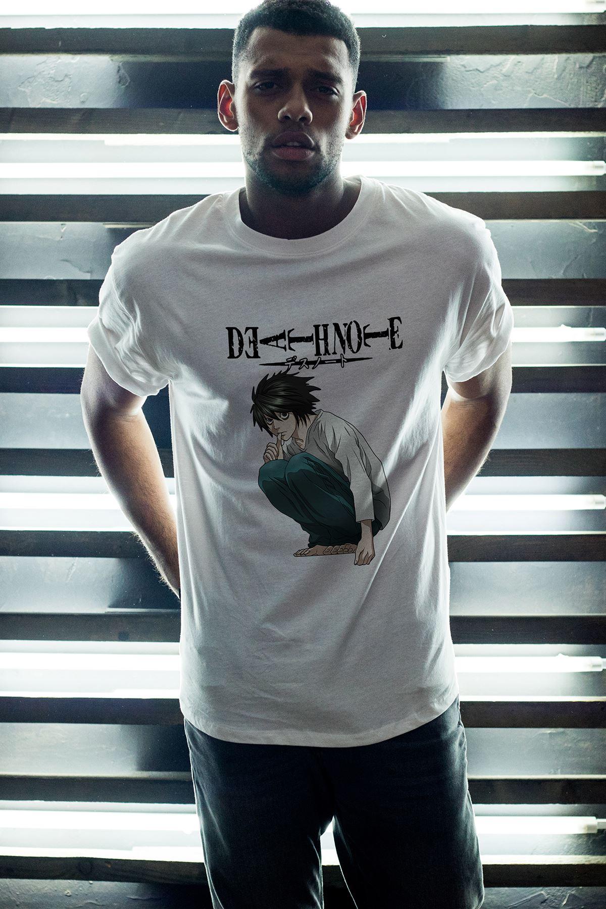 Anime Death Note 03 Beyaz Erkek Oversize Tshirt - Tişört