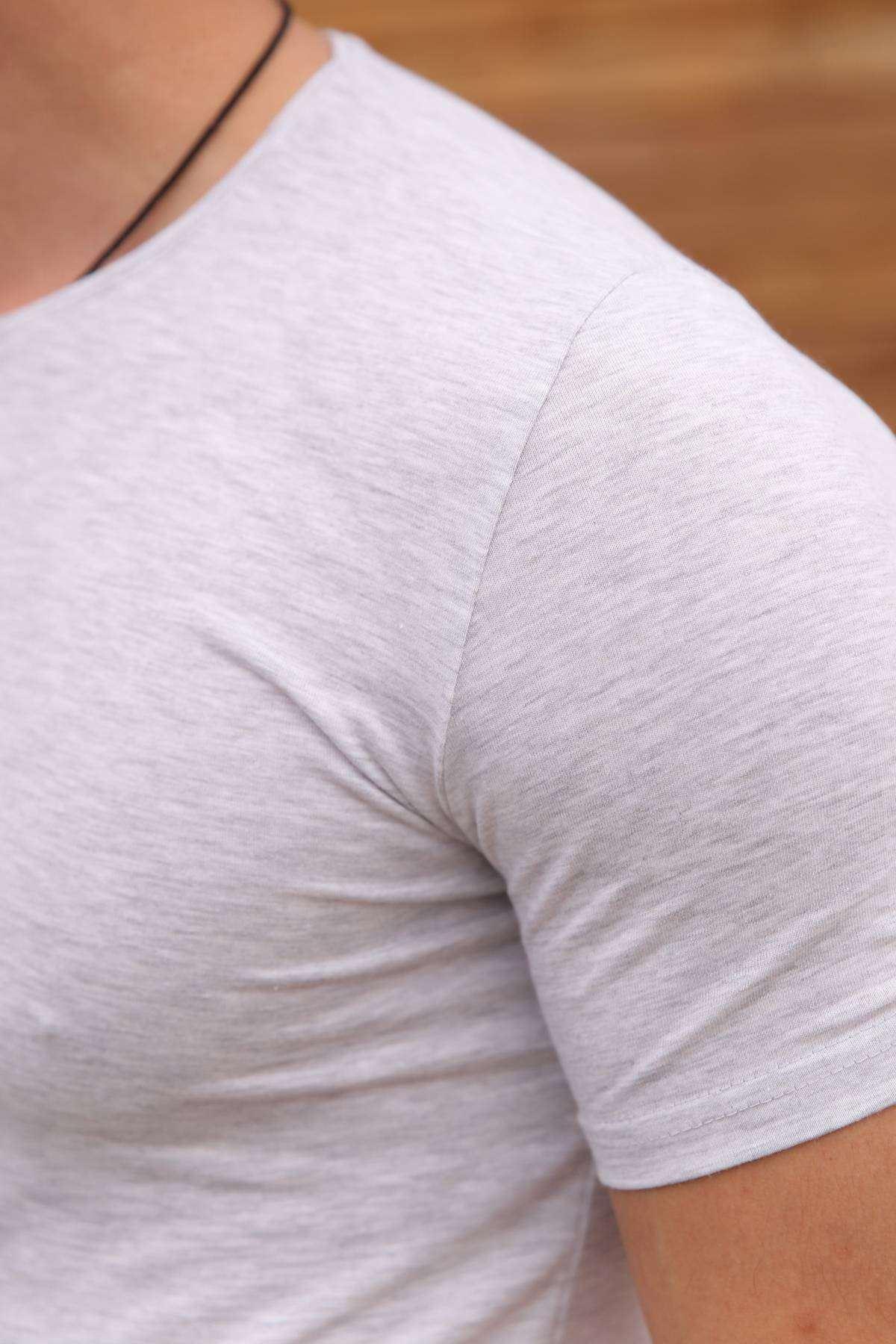 Erkek Açık Gri Bisiklet Yaka Düz Basic Tişört Tshirt