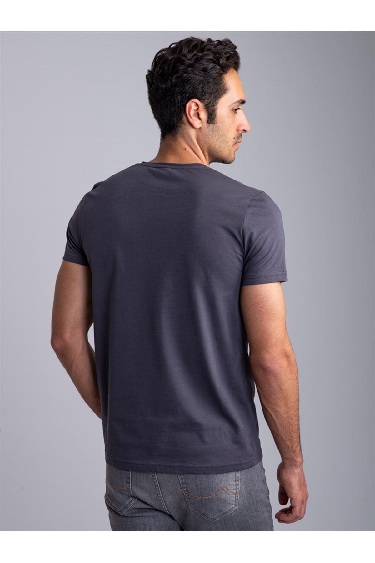 Erkek Antrasit Bisiklet Yaka Düz Likralı Basic Tişört Tshirt
