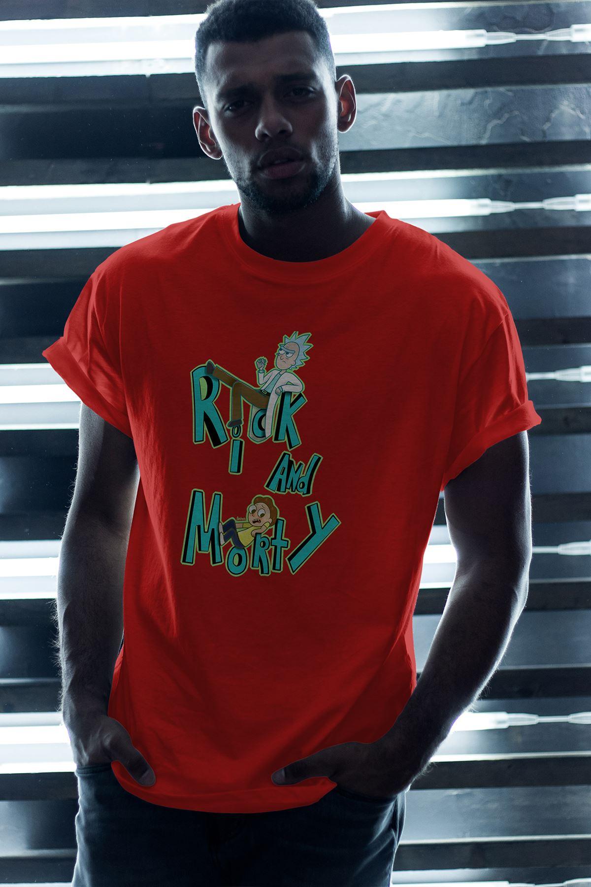 Rick And Morty 150 Kırmızı Erkek Oversize Tshirt - Tişört