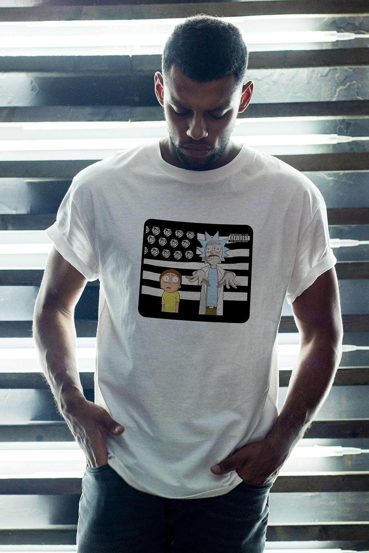 Rick And Morty 146 Beyaz Erkek Oversize Tshirt - Tişört