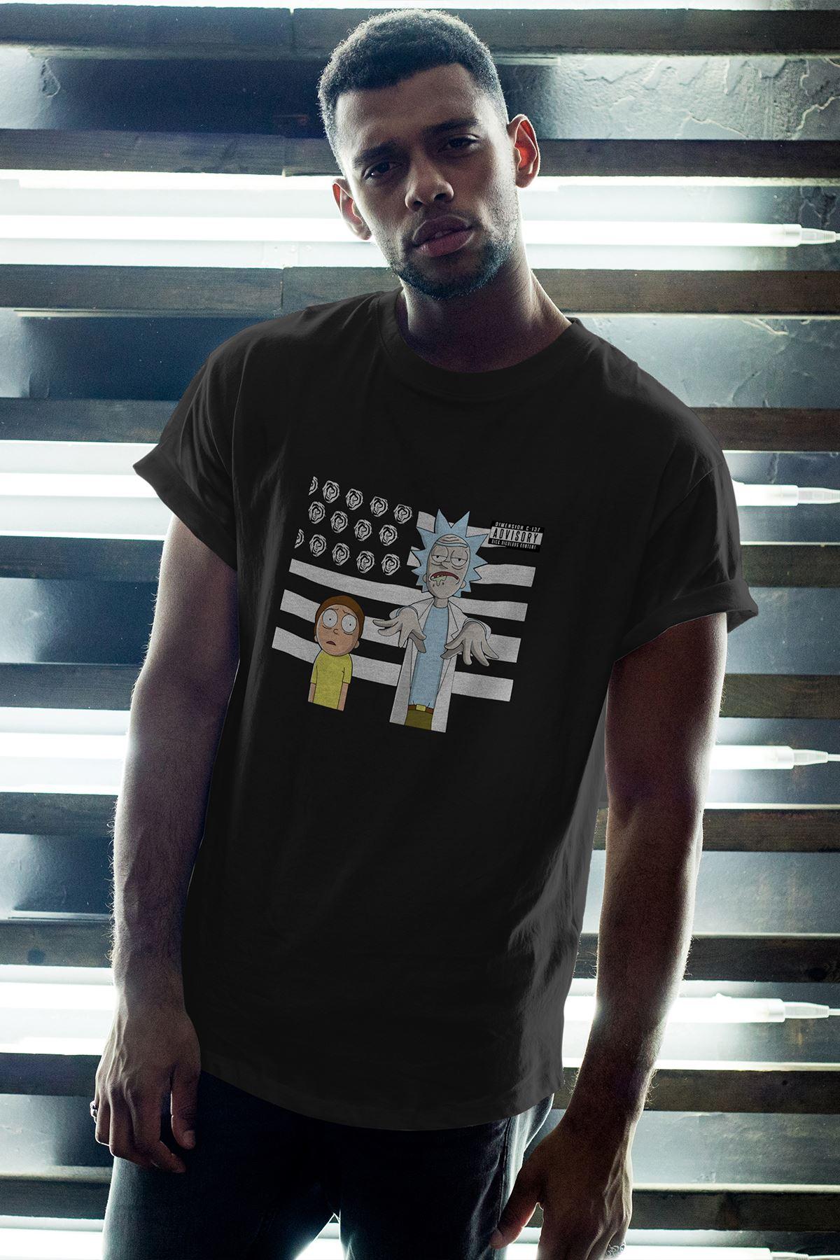 Rick and Morty 146 Siyah Erkek Oversize Tshirt - Tişört