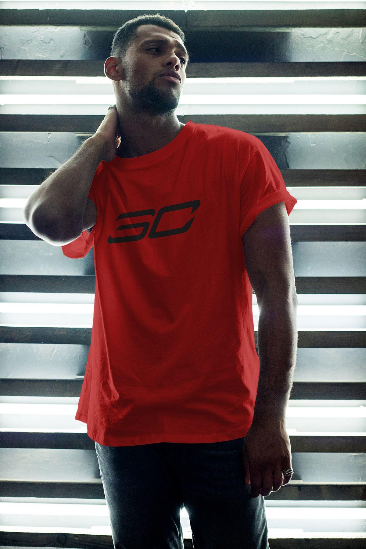 Stephen Curry 149 Kırmızı Erkek Oversize Tshirt - Tişört