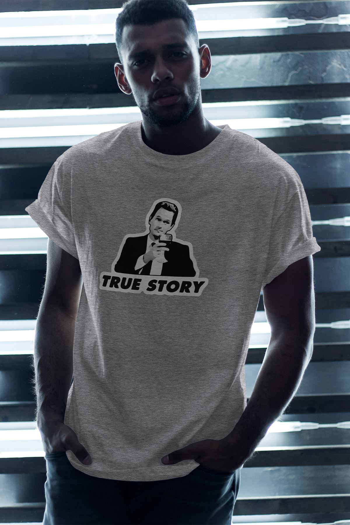 True Story Gri Erkek Oversize Tshirt - Tişört