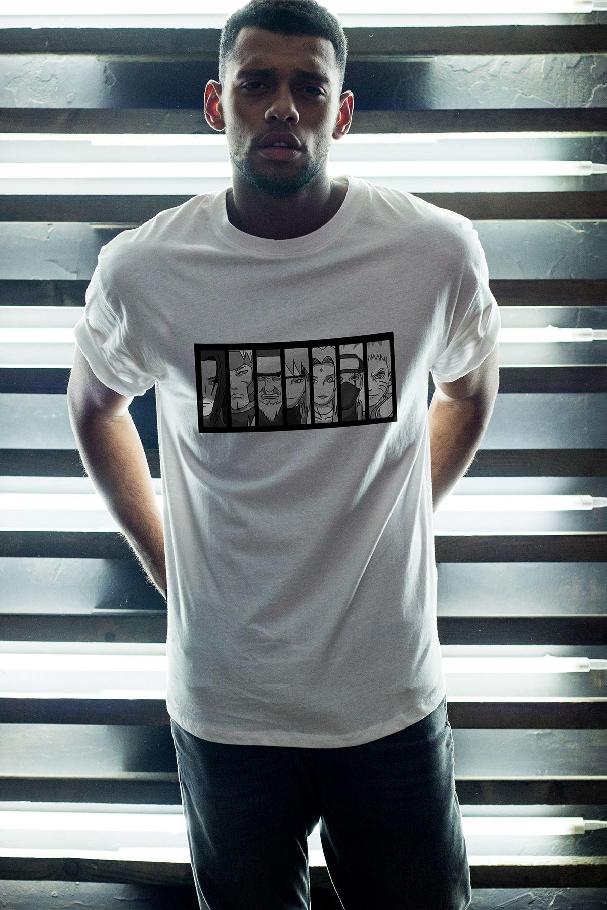 Naruto Anime 01 Beyaz Erkek Oversize Tshirt - Tişört