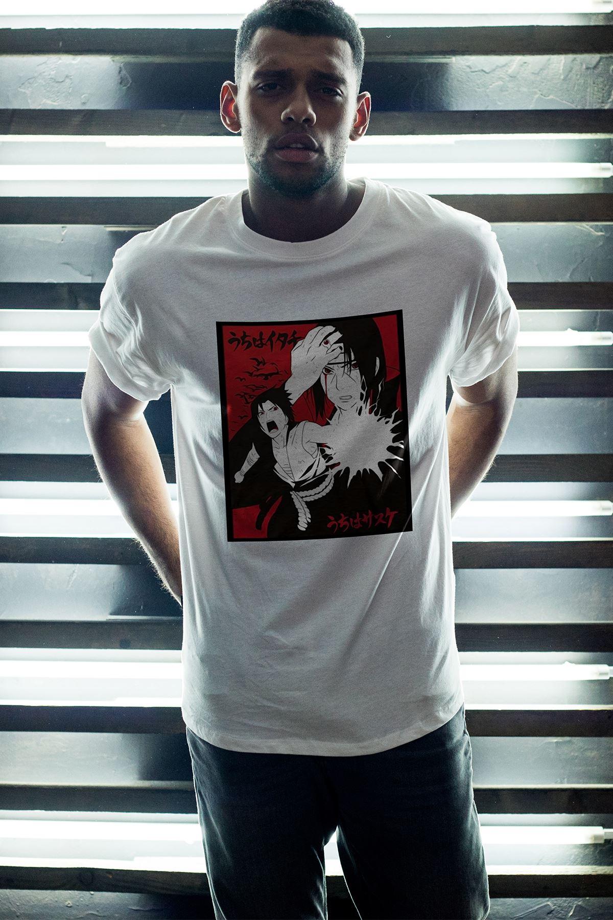 Naruto Anime 05 Beyaz Erkek Oversize Tshirt - Tişört