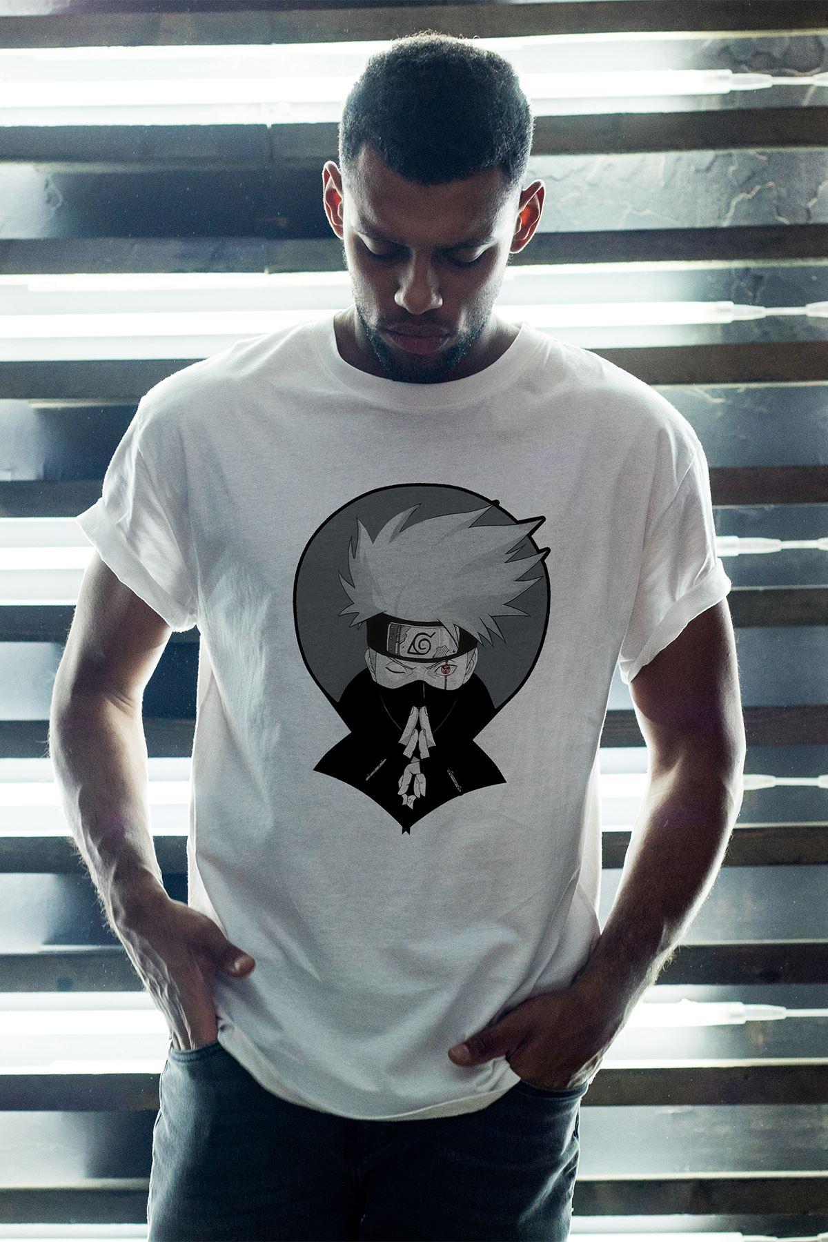 Naruto Anime 02 Beyaz Erkek Oversize Tshirt - Tişört