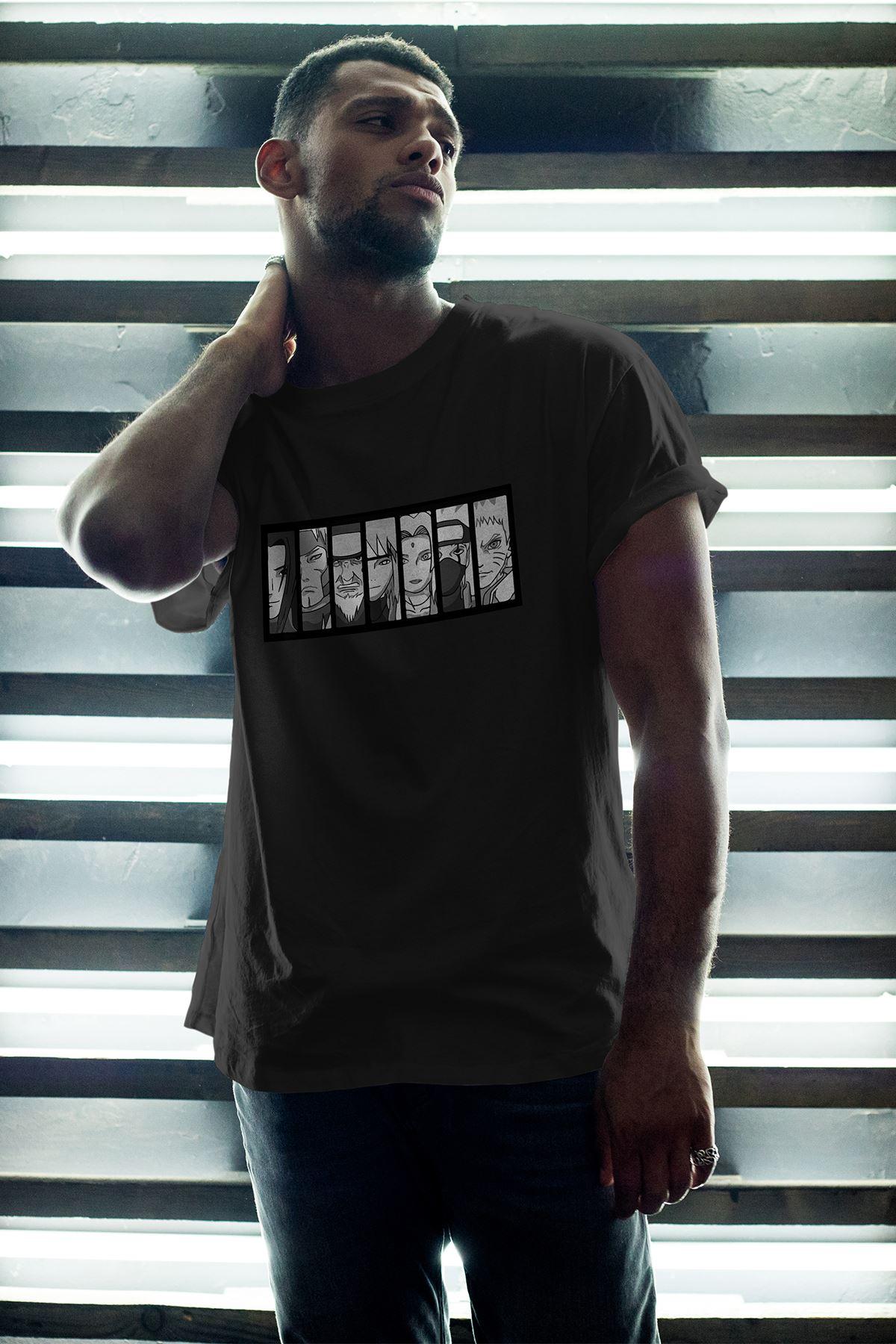 Naruto Anime 01 Siyah Erkek Oversize Tshirt - Tişört