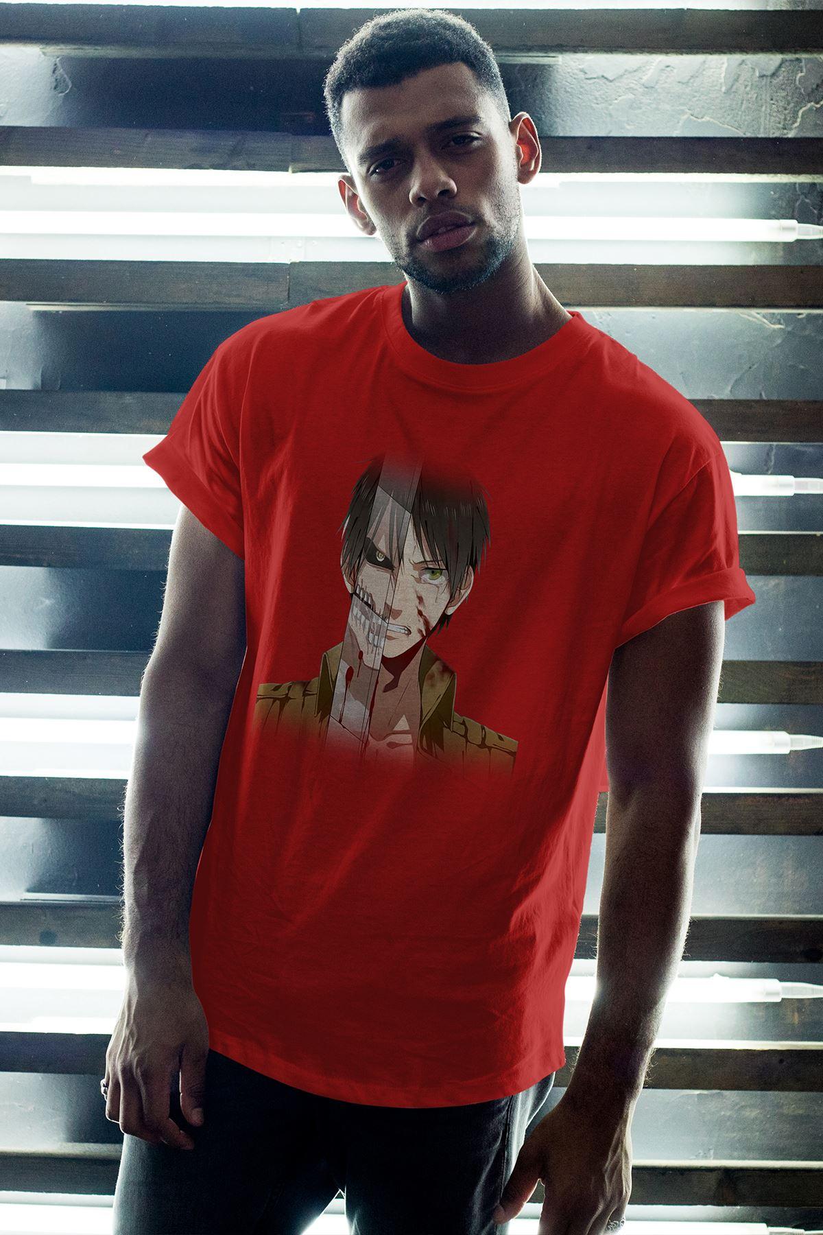 Naruto Anime 11 Kırmızı Erkek Oversize Tshirt - Tişört