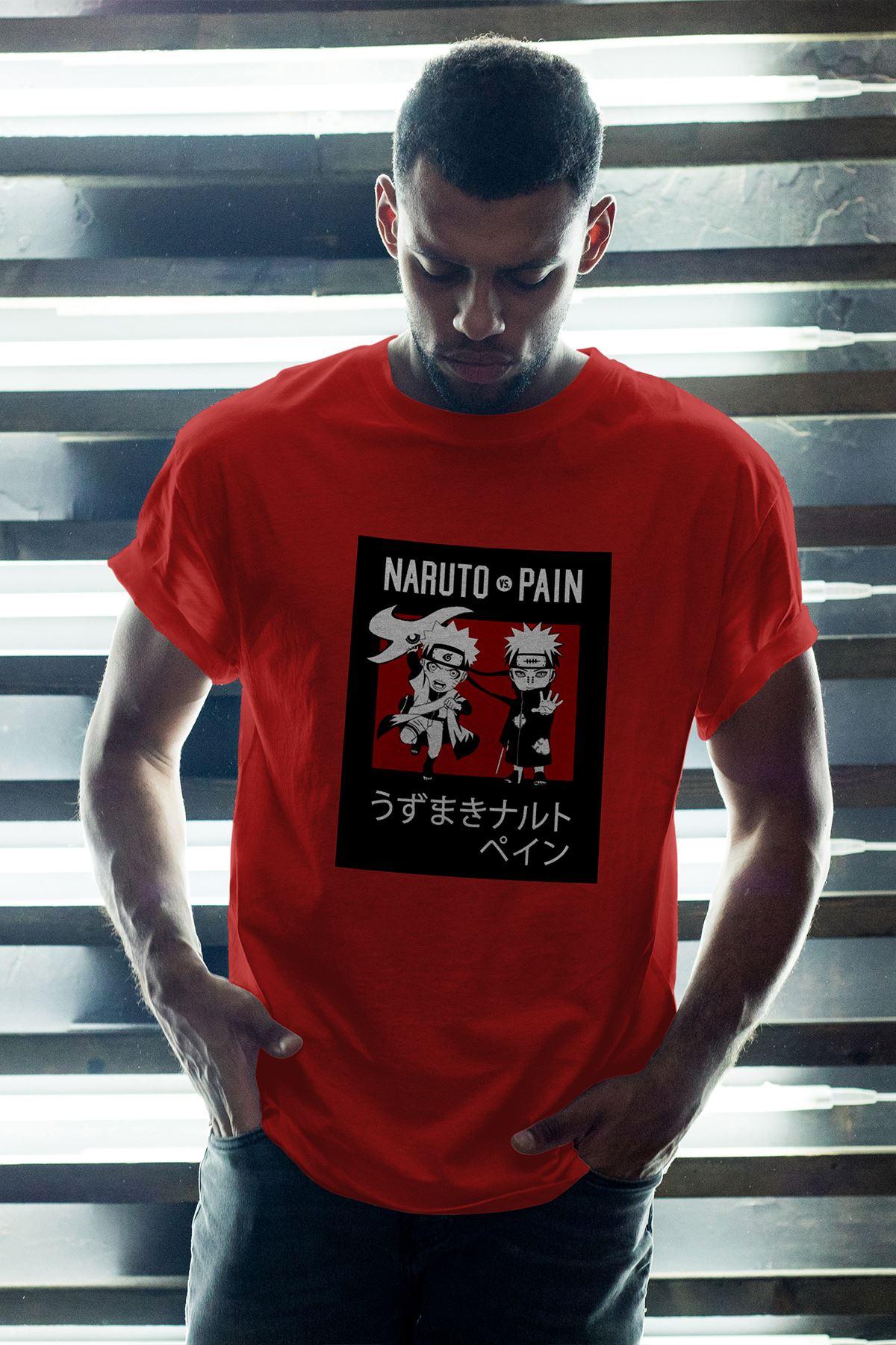 Naruto Anime 04 Kırmızı Erkek Oversize Tshirt - Tişört
