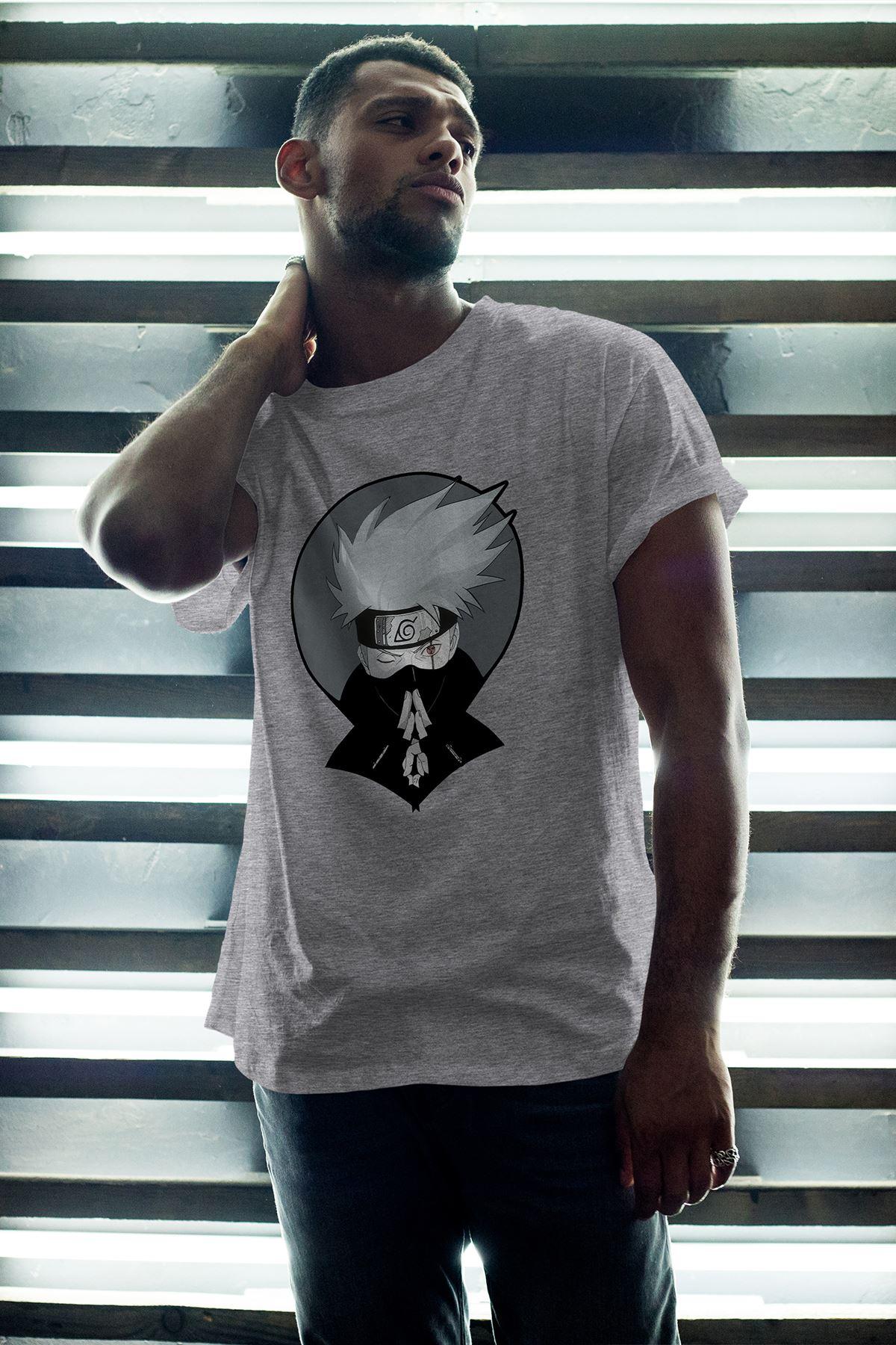 Naruto Anime 02 Gri Erkek Oversize Tshirt - Tişört