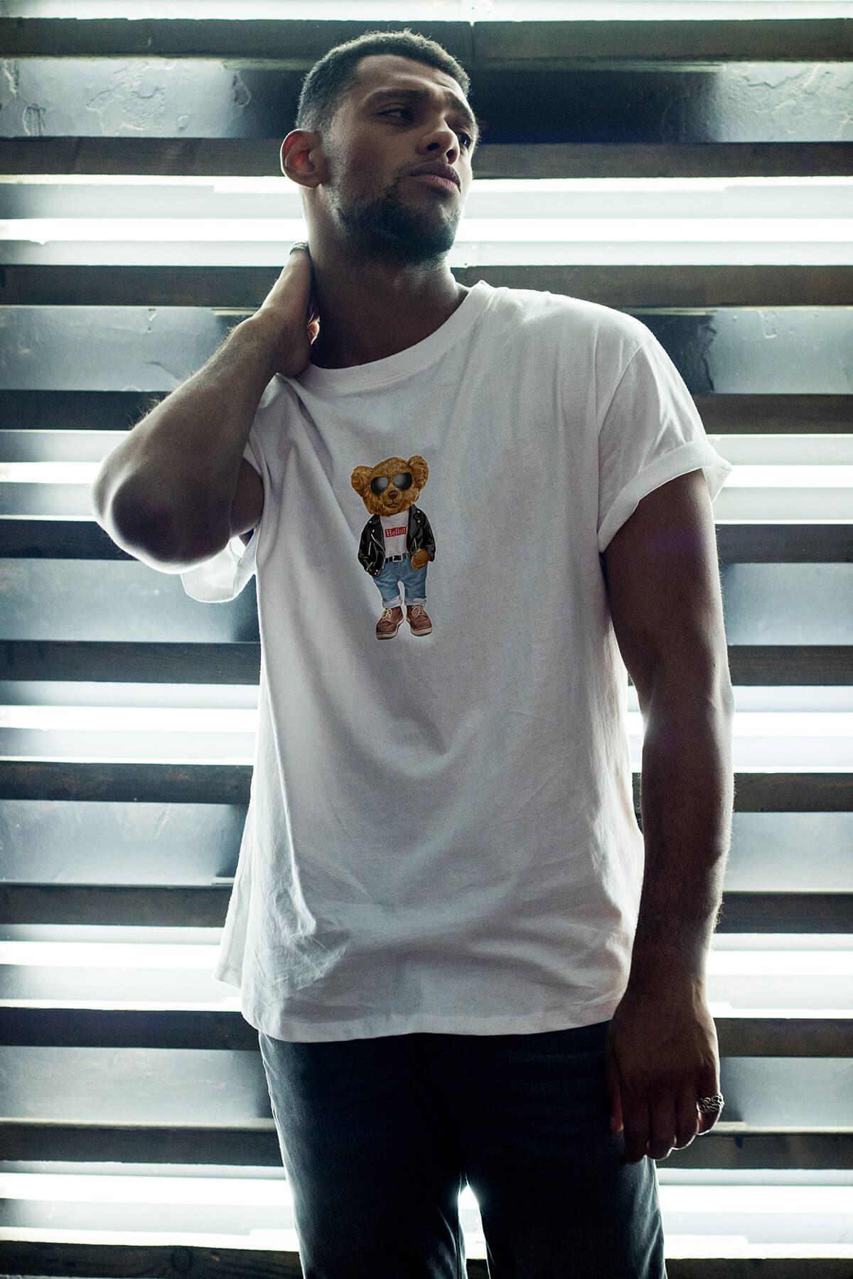 Nice Bear Beyaz Erkek Oversize Tshirt - Tişört