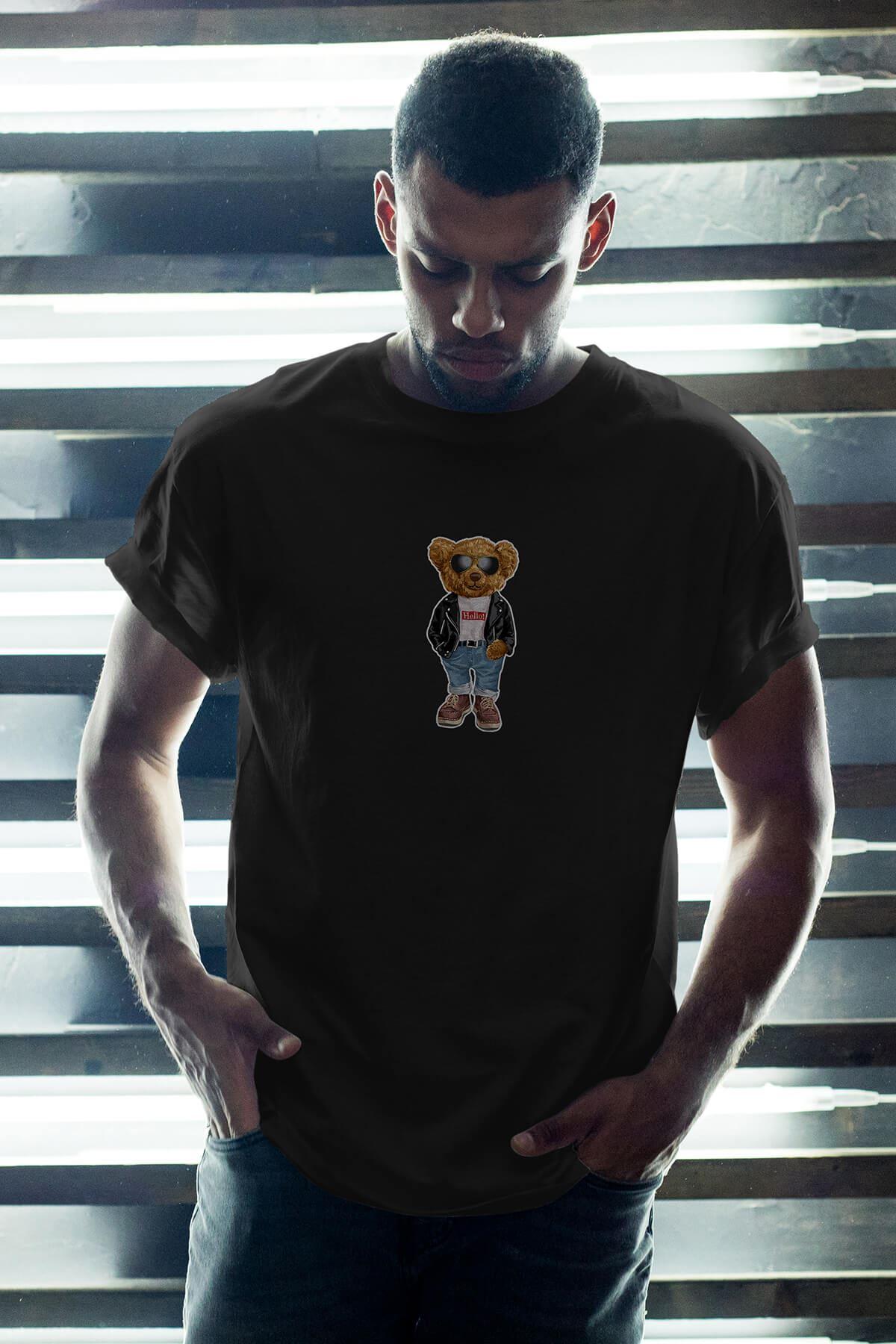 Nice Bear Siyah Erkek Oversize Tshirt - Tişört