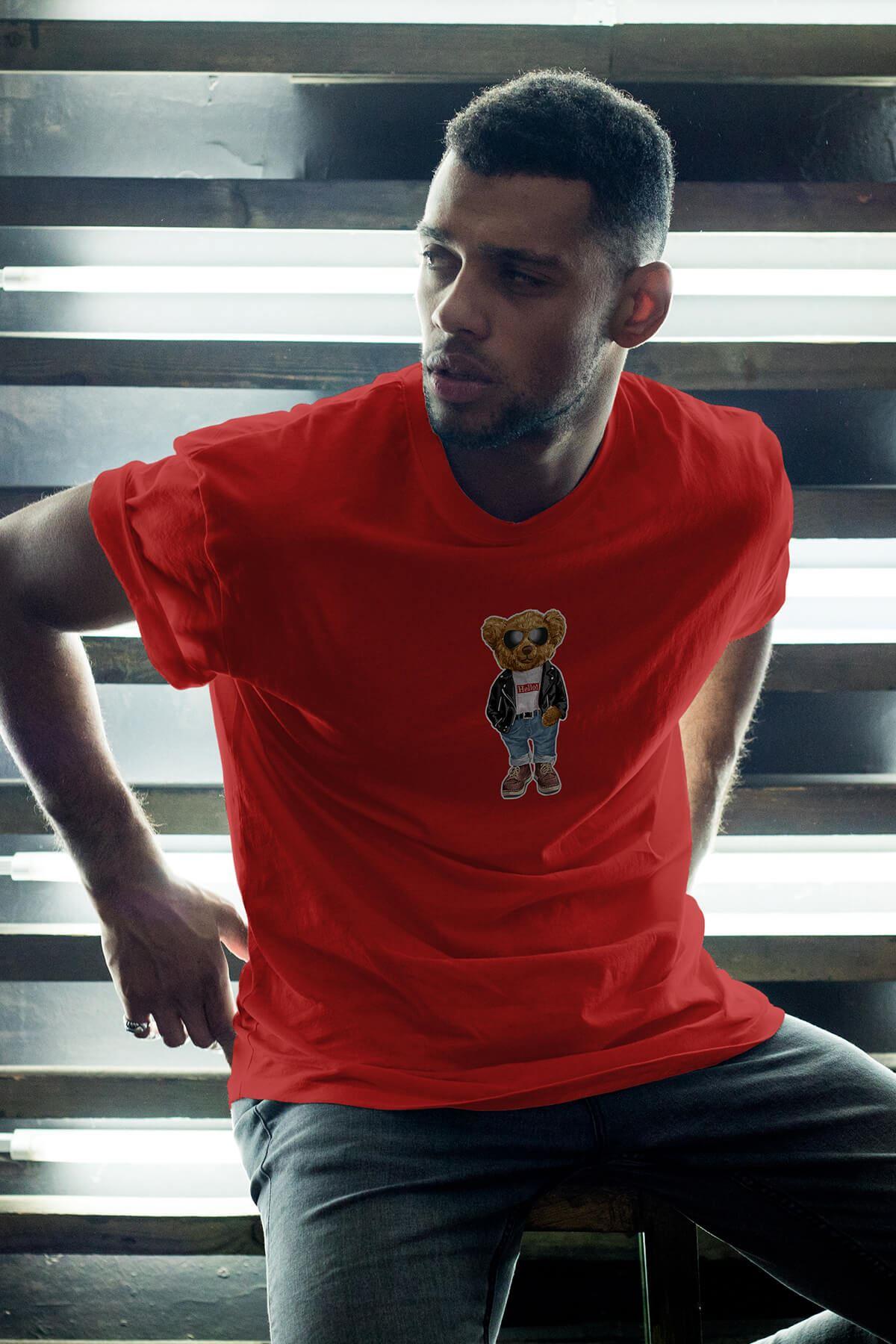 Nice Bear Kırmızı Erkek Oversize Tshirt - Tişört