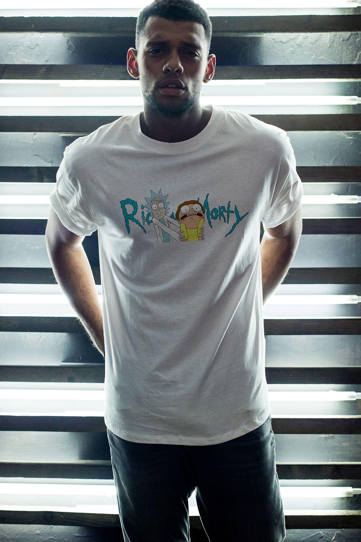 Rick And Morty 01 Beyaz Erkek Oversize Tshirt - Tişört