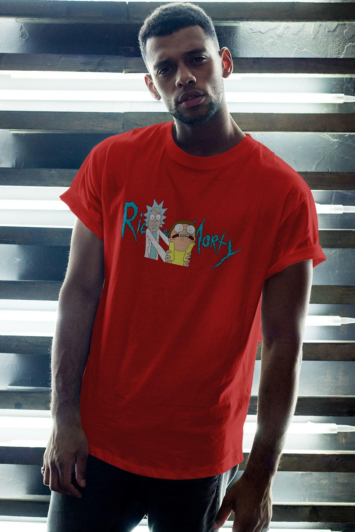 Rick And Morty 01 Kırmızı Erkek Oversize Tshirt - Tişört