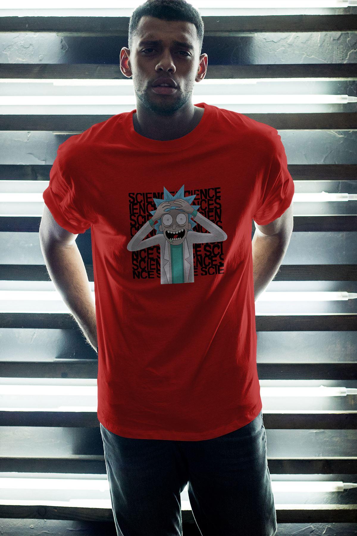 Rick and Morty 145 Kırmızı Erkek Oversize Tshirt - Tişört