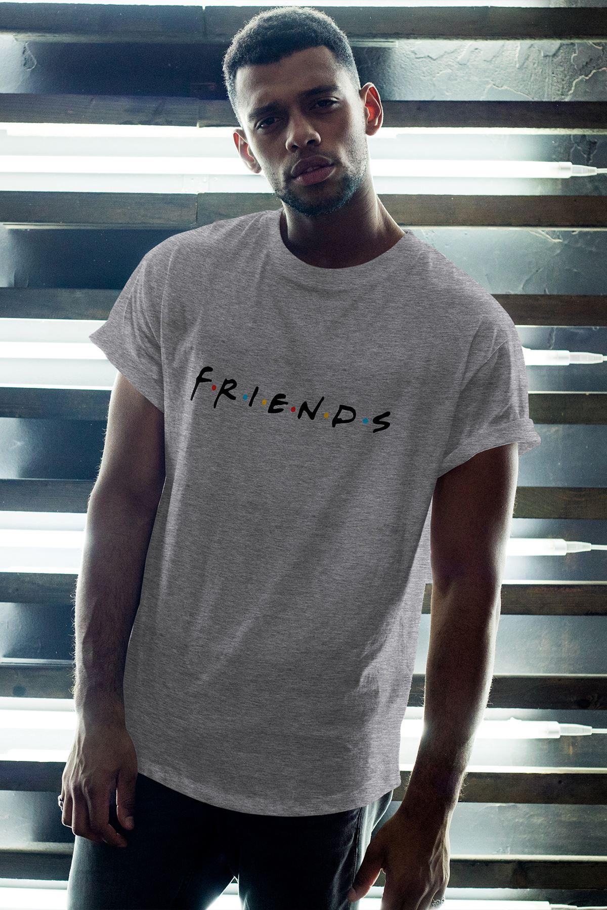 Friends 01 Gri Erkek Oversize Tshirt - Tişört