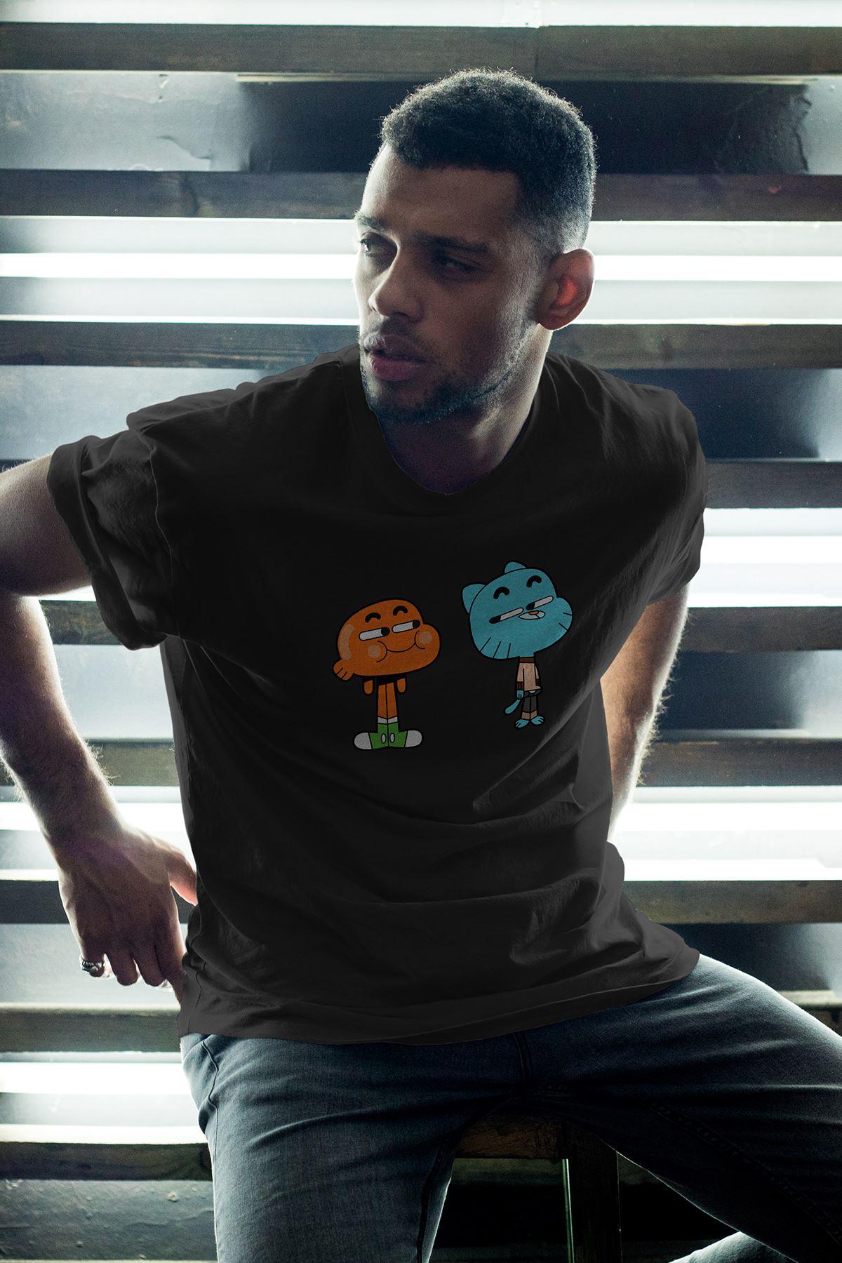 Gumball ve Darwin 02 Siyah Erkek Oversize Tshirt - Tişört