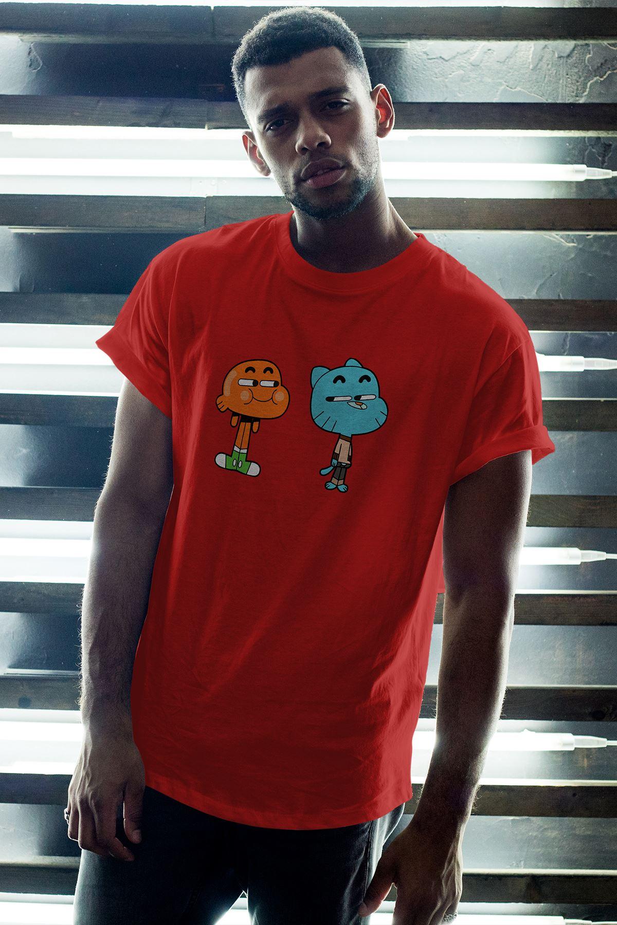 Gumball ve Darwin 02 Kırmızı Erkek Oversize Tshirt - Tişört