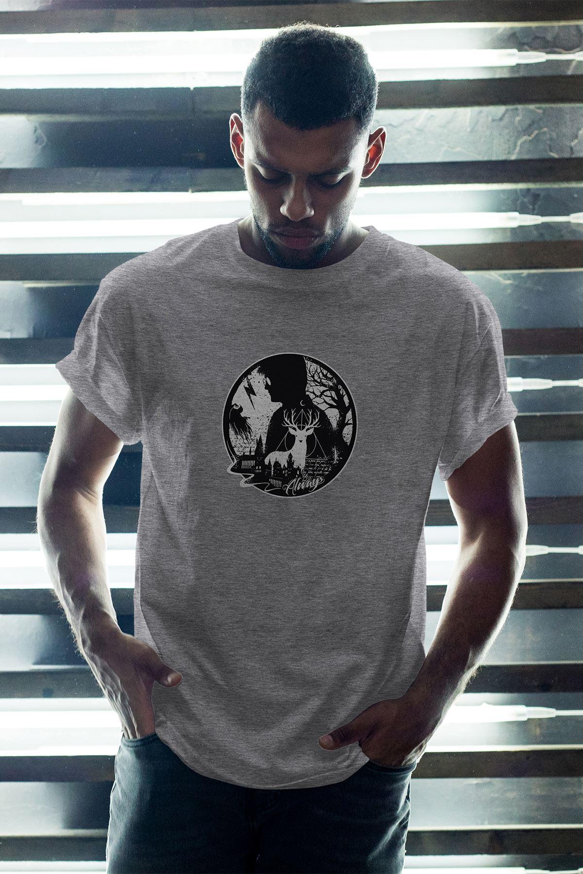 Harry Potter 60 Gri Erkek Oversize Tshirt - Tişört
