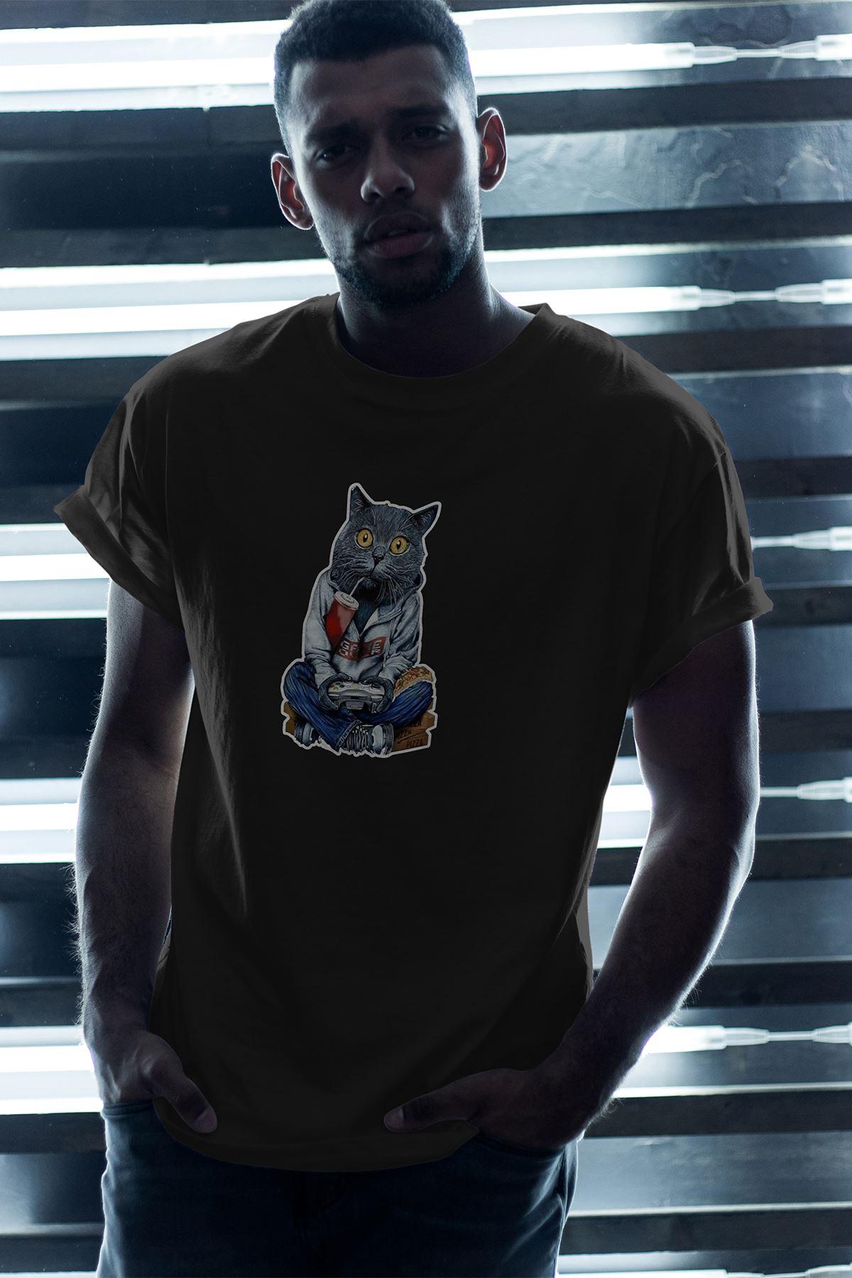 Kedi Siyah Erkek Oversize Tshirt - Tişört