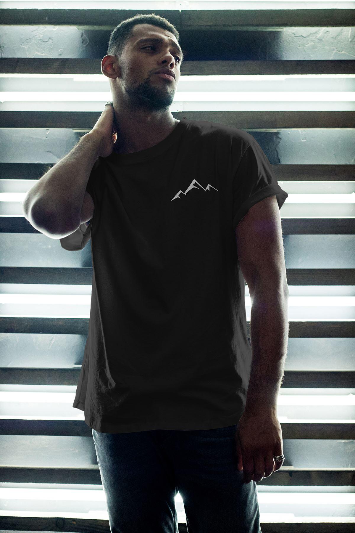 Little Mountain Siyah Erkek Oversize Tshirt - Tişört